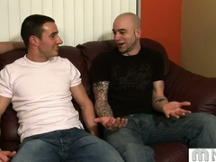 Three homo guys talk and start fondling and kissing