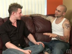 Two homosexual talk about it and acquire going on the couch