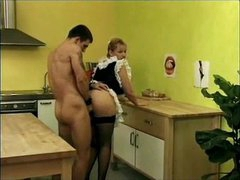 This chab bones French maid hard in kitchen