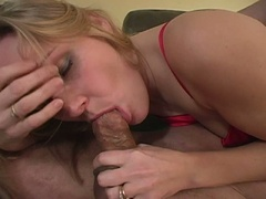 Golden-haired wife comes home from a short day of work to a slutty hubby