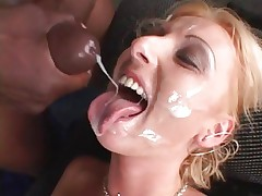 Tracey Lane receives her face showered in hawt cum