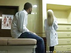Hawt blond doctor receives patient cock