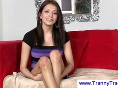Tgirl suprises str8 guy with boner