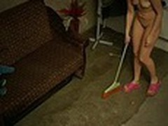 The owner of this terrible apartment was pleased when he saw how neat this new girl was but we are pretty sure that he enjoyed her juvenile naked body shamelessly filmed by spy camera even more!