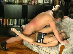 Lusty girlie putting aside her book seducing aged male into mighty dicking