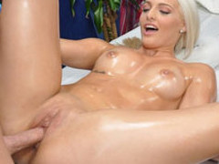 Cute blond Macy is seduced and fucked hard by her massage therapist