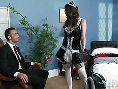 This cute brunette is employed as cleaning woman. Her boss is watching her how this babe is working and this dude is very lascivious and crave to fuck her. The boss put her on the bed and begin to take up with the tongue her cookie and ass. Then this dude introduce his big cock in her soaked snatch and begin to fuck her very unfathomable and hard.