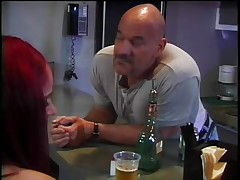 Naked redhead midget with hot booty and cute tiny tits receives naughty after a glass of beer and spreads her legs so that this fellow can lick her shaved pussy. She loves it and moans as this chab eats and then fingers that cunt. The fellow inserts his hand in her moist vagina and she starts getting hornier and hornier until this chab asks her if she wants to watch smth big, his hard thick cock. This doxy hurries to engulf his dick and receives it stuffing her face hole like a dick hungry bitch.