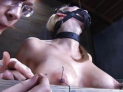 Look at this fucking cheap whore, probably that playgirl was waiting for some old fashioned ass whipping and mouth fucking. Maybe that playgirl will receive some of that later but now, the breasty sex serf is going to experience smth more intense. With precision and skill they tie her nipples and fingers with wire, want to know why?
