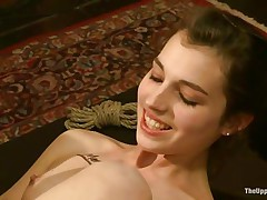She's young, with a adorable booty, pink lips and small cute tits. Meet Kristine, a sexy babe that awaits her treatment. Milf Bella approaches her with a thong on around her mouth and fucks Kristine's youthful wet love tunnel deeply. Those doxies are sex slaves and they like it that way. It's freaky!