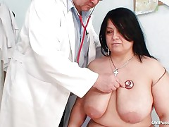 Obese brunette Rosana went to doctor's to receive her body checked up well. But there is this nasty pervert doctor who makes her naked and begins playing with her firm fat body! See how he is toying with her huge breasts and gaping her pussy. This chab even fingers it to make her horny so that he can screw her well!