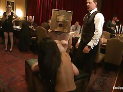 Odile, Lyla Storm, and Katharine Cane are all for the pleasure of the guests at this party. Katharine has a box on her head and is asking to cum. Lyla receives fingered in both holes and vibed on her clit. It's an elegant orgy for those brunette babes, pained or pleasured at the whims of the guests.