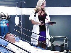Dr. Alena Croft comes in to check on her patient Bill Bailey. He's not feeling well so this babe waves her gazoo in his face to watch if that helps. He needs more medicine in the form of a good fucking. She climbs on his couch and wraps her love tunnel lips around his aching cock.