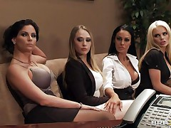 See these four sexy honeys seducing their boss for a salary raise. See how they're undressing and begin touching, giving a kiss and licking every others bobs. Seems that the boss is joining the party so they begin sucking his hard cock. Somebody is getting a salary raise!