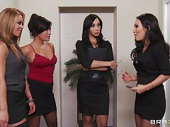 Those four hot babes are going to make an offer to their boss her really can't refuse. Watch how the 1st one goes and and takes her clothing off and shows her big tits the same like the rest of them. They show him how hard they can work as group sucking his hard 10-Pounder and making him cum.