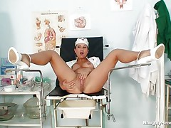 Kamila is a naughty nurse and that sweetheart widens those long hot legs so that we can watch her beautifull shaved cunt. Look at her as that sweetheart inserts a sex tool in her vagina and then a very interesting instrument. Those hot spreaded legs on the medical table are asking for a biggest load of cum on them, will that sweetheart get some?