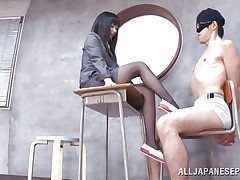 Brunette hair teacher loves treating her bad students with her feet. She got this one bound on a chair, blindfolded him and rubbed his schlong with her feet. The treatment that babe gives him will surely make him a more good student and perhaps he will repay her with a unfathomable hard fuck.