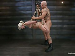 She's a thin hot blonde with a couple of lips that are perfect for sucking dick and a bubble butt that demands some serious fucking. Watch her as she's fastened up and hangs there during the time that the bald chap copulates her vagina hard and his friend takes care of her mouth. That babe enjoys a ruff fuck, will this babe have a fun some spunk too?