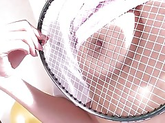Japanese brunette Suzu Minamoto has nothing but a badminton racket to shove in her juicy pussy. She'll have to settle for shuttlecock instead of real cock. that babe rubs the strings on her nipples and then jams the birdie up her twat.