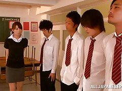 Arisu desires discipline and that babe aligns her students in order and then kneels to suck each and each one. The lads broke the line and surrounded her so now that babe has all these hard dongs around her pretty face. Can that babe handle all these dicks and will they repay their teacher with a few loads of cum on her face?