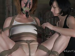 This is how those girls like to play. Cici is all tied up and has a mask on her face whilst her brunette hair angel takes advantage of her body. That babe squeezes her nipples and tongue and then starts rubbing that enjoyable cum-hole with a vibrator.