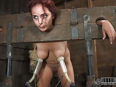 Ashley Graham is bound up in shackles with a milking machine attached to her huge breasts. This babe a obscene whore and these studs castigate her with humiliating tasks. She's bound to her chair so you can get a better look at her huge melons.