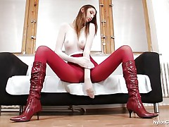 Pamela is covered in nylon and her long sexy legs, long hair, sexually excited face and sexy booty makes us wonder if this slut will masturbate in front of us, giving us a very nice show. That babe is a tall babe and has a lot to offer, stick around there more to be seen.