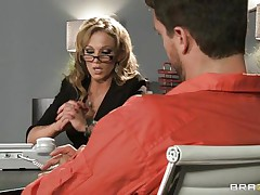 Look at that blonde lawyer talking to an accused man. Look at those big zeppelins and her hawt butt getting that man extremely horny. Do u think She will get some spunk on her moist lips or some hard ramrod in her tight ass?