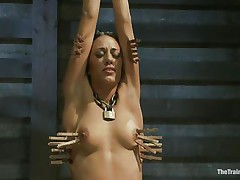 Hispanic cuties are hot and the fact that Lyla is tied and punished makes her even hotter. Her executor putted clothespins on her body and this chab rubs her clit with a sex-toy making her screech with pang and pleasure. This babe loves it and her tight body barely handles all that stimulation. Will she get drilled too?