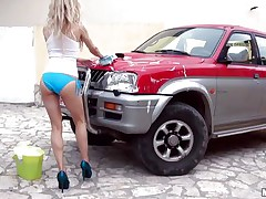 Hawt Michelle Moist is at outdoor washing a car. And that babe is all juicy due to this washing stuff. Well, juicy means that babe is juicy in her c section too. Getting crazy with her temptation that babe is taking off her clothing and showing her small mangos and constricted ass. And that attracts a ramrod which that babe is sucking now.