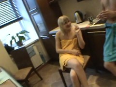 Concupiscent babe sucks diminutive ding-dong of her partner inside the bathroom