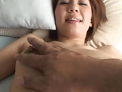 Pretty Oriental mother i'd like to fuck sucks on hard schlong and her hirsute wet crack fingered