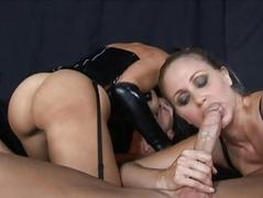 Darksome brown and golden-haired milfs engulfing wang and fucking hard