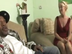 Blond milf in a red suit wishes biggest black dick