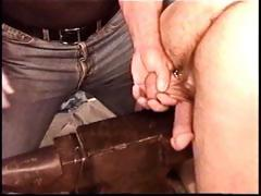 Hot muscle dude Derek Da Silva gets balls bashed on iron anvil.