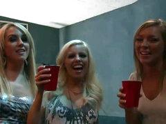 Four Slutty Sluts Take On Two Favourable Knobs